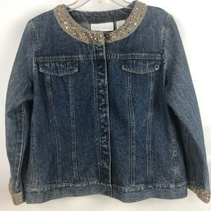 Denim jacket with beaded collar and cuffs